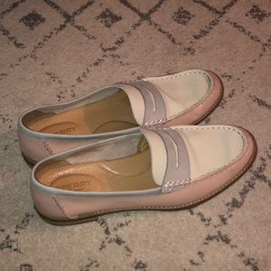 Tri color sperry loafers